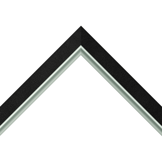 1&Prime; Black Suede Flat<br />with Silver Lip Liner Picture Frame Moulding