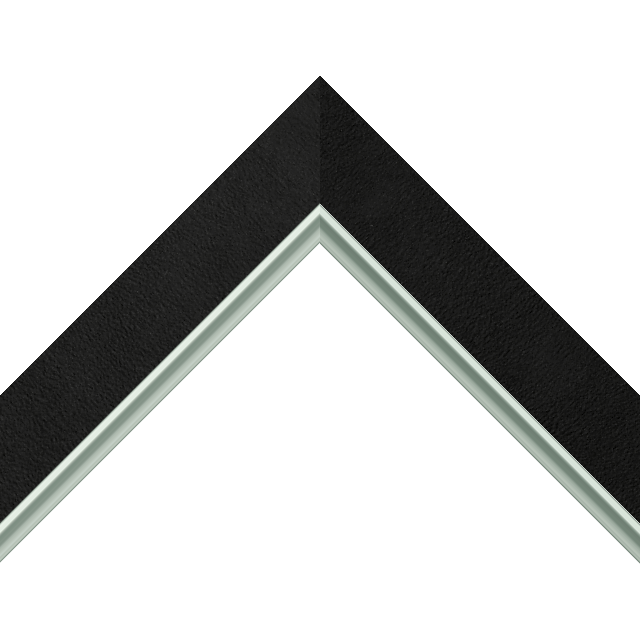 1-1/2&Prime; Black Suede Flat<br />with Silver Lip Liner Picture Frame Moulding
