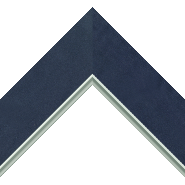 2-1/2&Prime; Navy Suede Flat<br />with Silver Lip Liner Picture Frame Moulding