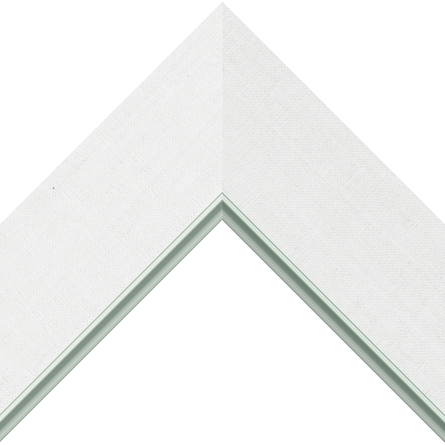 3&Prime; White Linen Flat<br />with Silver Lip Liner Picture Frame Moulding