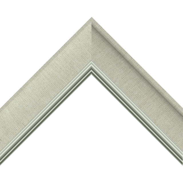 2&Prime; Scoop Brussels Natural Linen Scalloped<br />with Silver Lip Liner Picture Frame Moulding