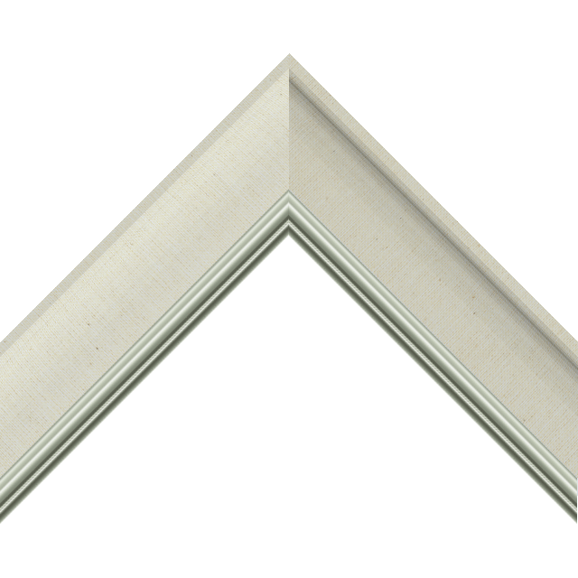 2&Prime; Scoop Brussels Cream Linen Scalloped<br />with Silver Lip Liner Picture Frame Moulding