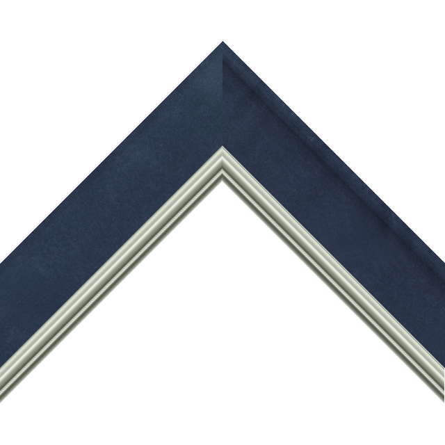 2&Prime; Scoop Navy Suede Scalloped<br />with Silver Lip Liner Picture Frame Moulding