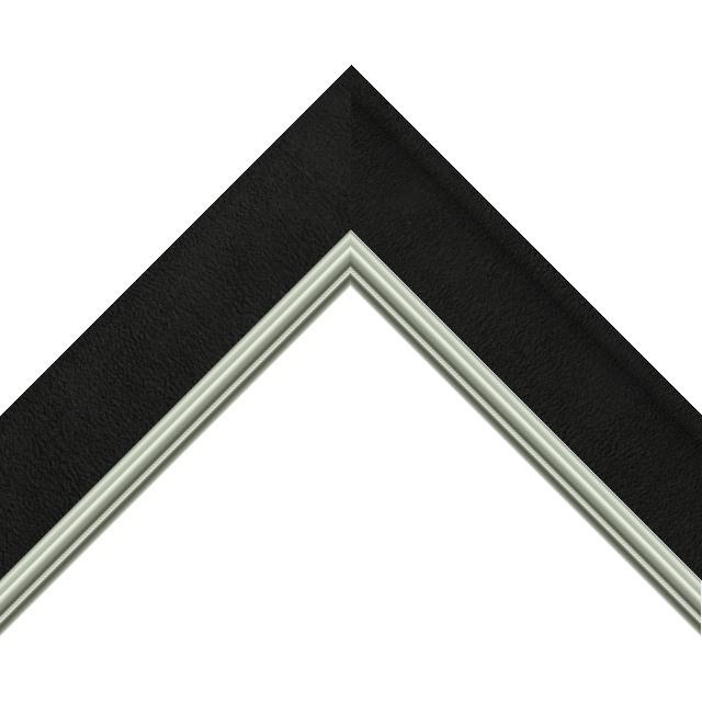 2&Prime; Scoop Black Suede Scalloped<br />with Silver Lip Liner Picture Frame Moulding