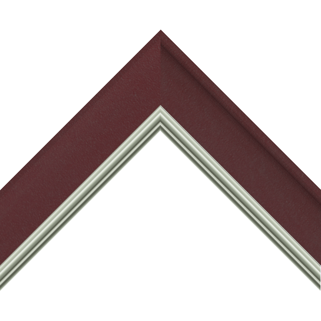 2&Prime; Scoop Claret Suede Scalloped<br />with Silver Lip Liner Picture Frame Moulding
