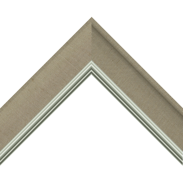2&Prime; Scoop Khaki Silk Scalloped<br />with Silver Lip Liner Picture Frame Moulding