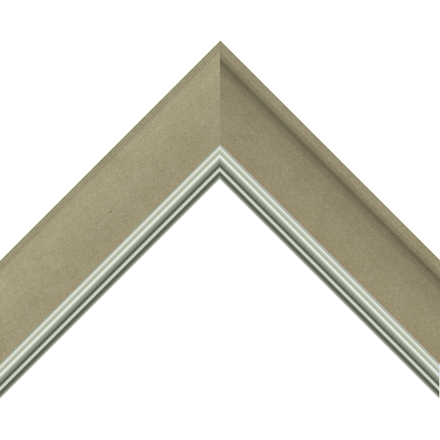 2&Prime; Scoop Ultra Taupe Suede Scalloped<br />with Silver Lip Liner Picture Frame Moulding